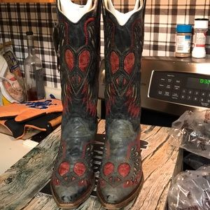 Corral Vintage Black Saddle Wing & Heart Boots NEW